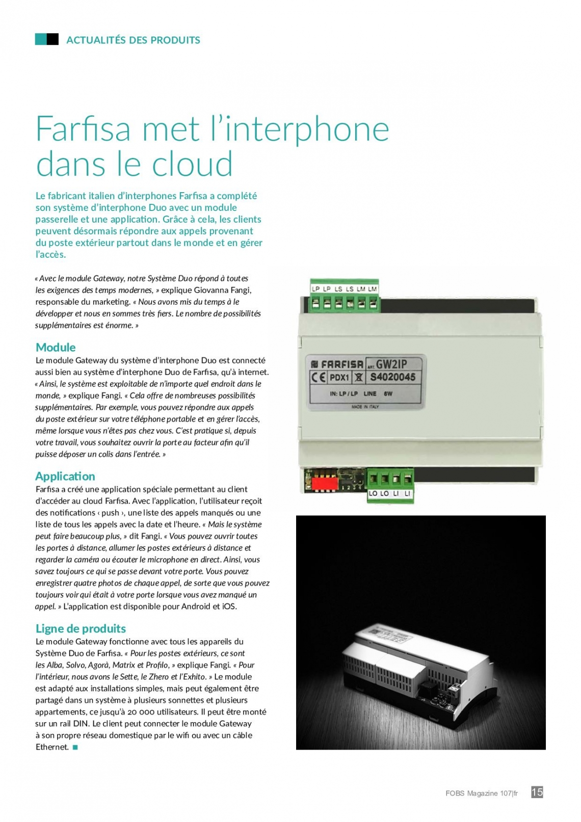 Farfisa met l'interphone dans le cloud