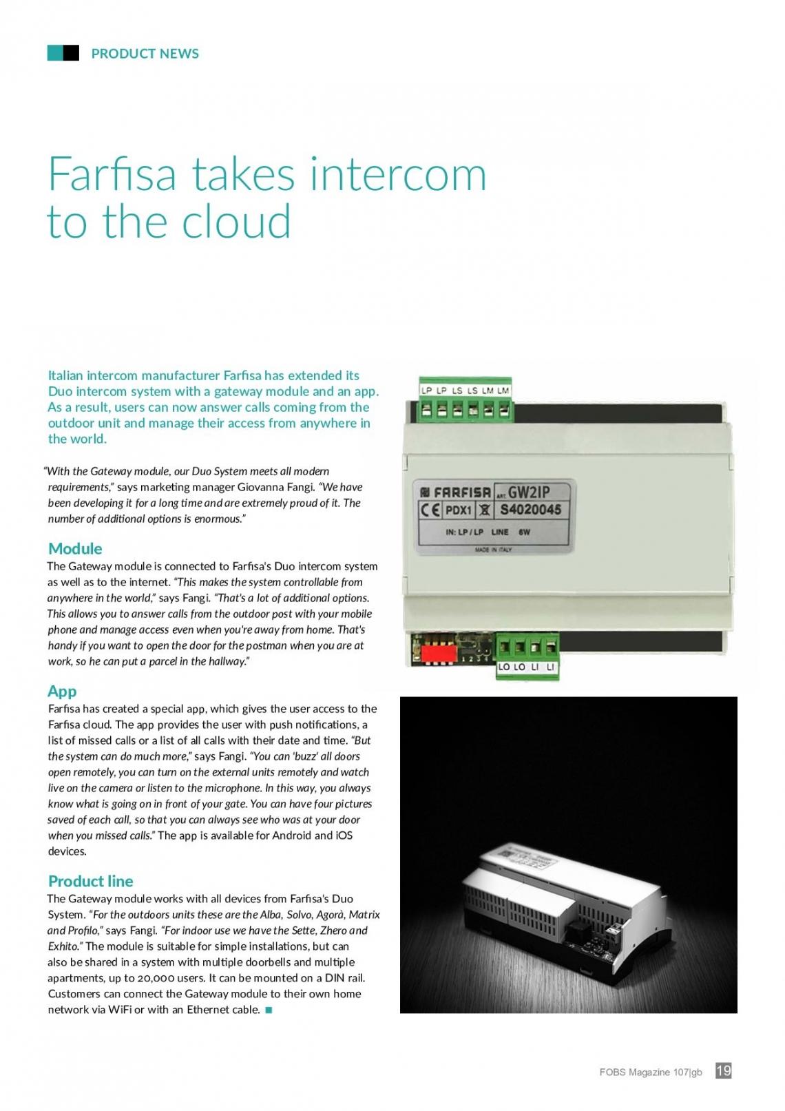 Farfisa takes intercom to the cloud