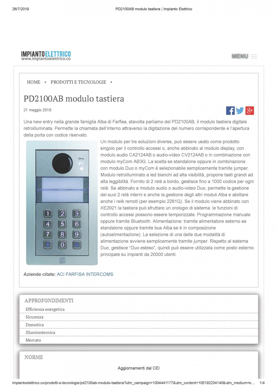 PD2100AB modulo tastiera