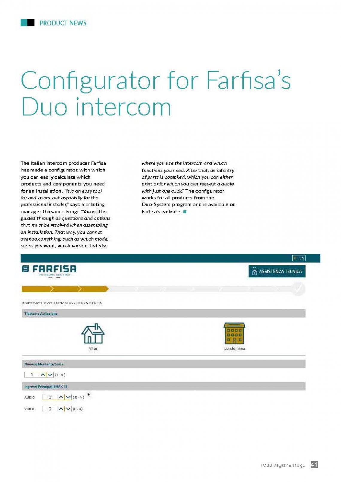Un configurateur pour la vidèophonie DUO de Farfisa